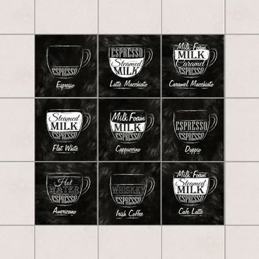 Product picture Tile Sticker 9-part set - Coffees...