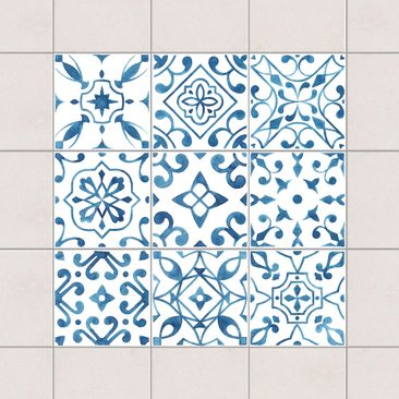 Produktfoto Tile Sticker 9-part set - Pattern Blue...