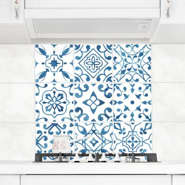 Product picture Tile Sticker 9-part set - Pattern Blue...