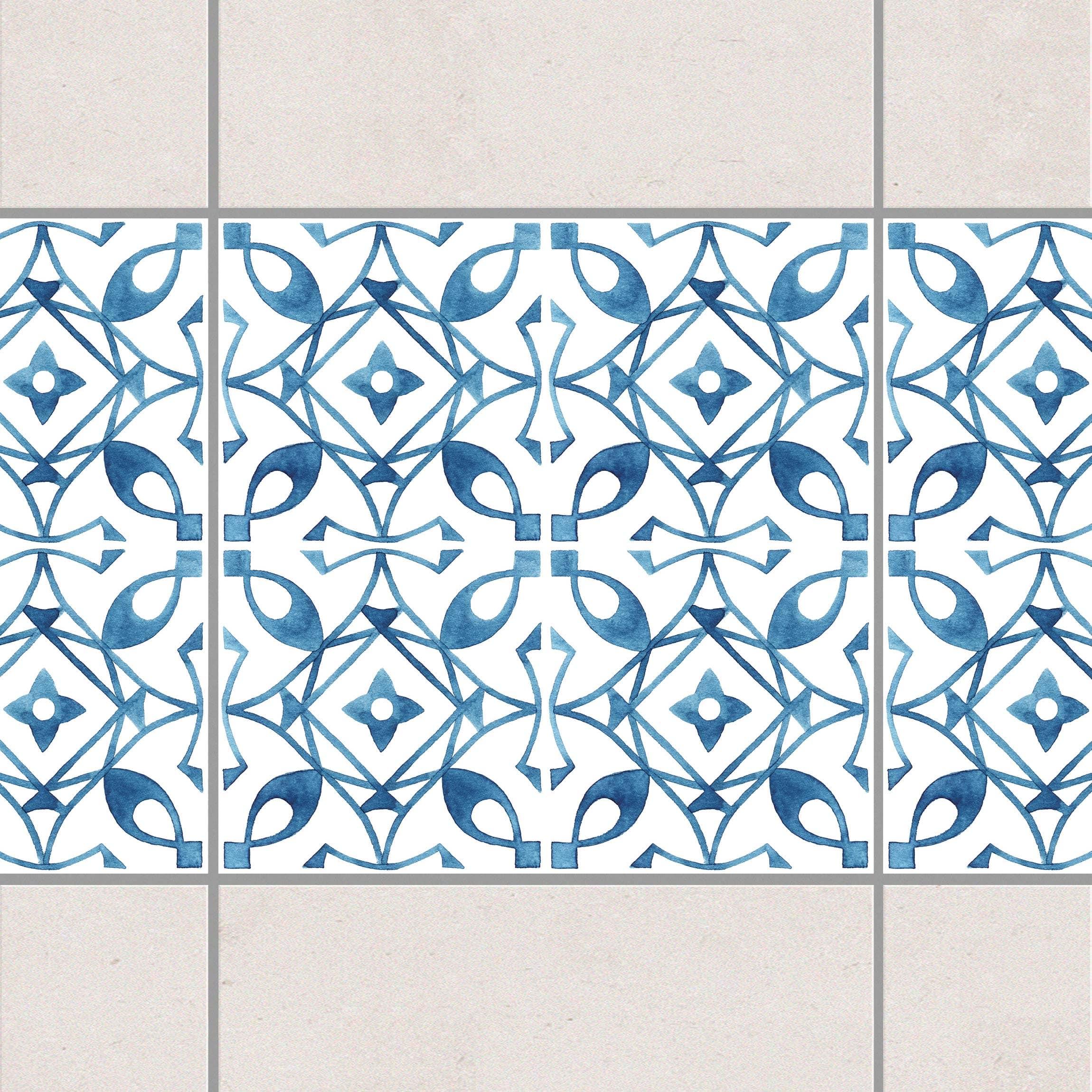 fliesen bord re blau wei muster serie no 8 1 1 quadrat 10cm x 10cm fliesenaufkleber. Black Bedroom Furniture Sets. Home Design Ideas