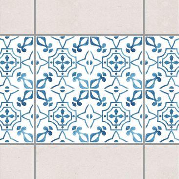 Produktfoto Fliesen Bordüre - Blau Weiß Muster Serie No.9 1:1 Quadrat 10cm x 10cm - Fliesenaufkleber