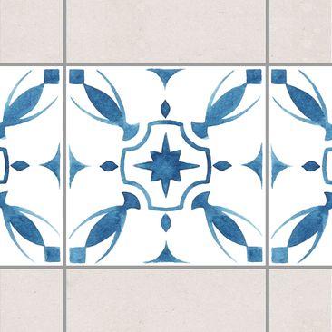 Produktfoto Fliesen Bordüre - Muster Blau Weiß Serie No.1 1:1 Quadrat 10cm x 10cm - Fliesenaufkleber