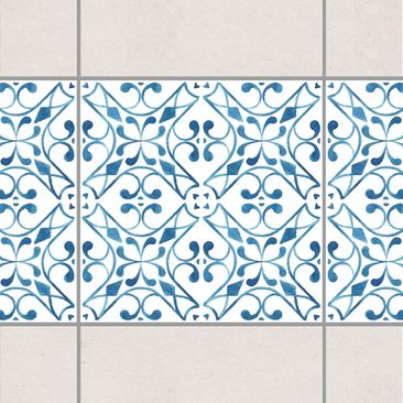 Product picture Tile Border - Blue White Pattern Series...