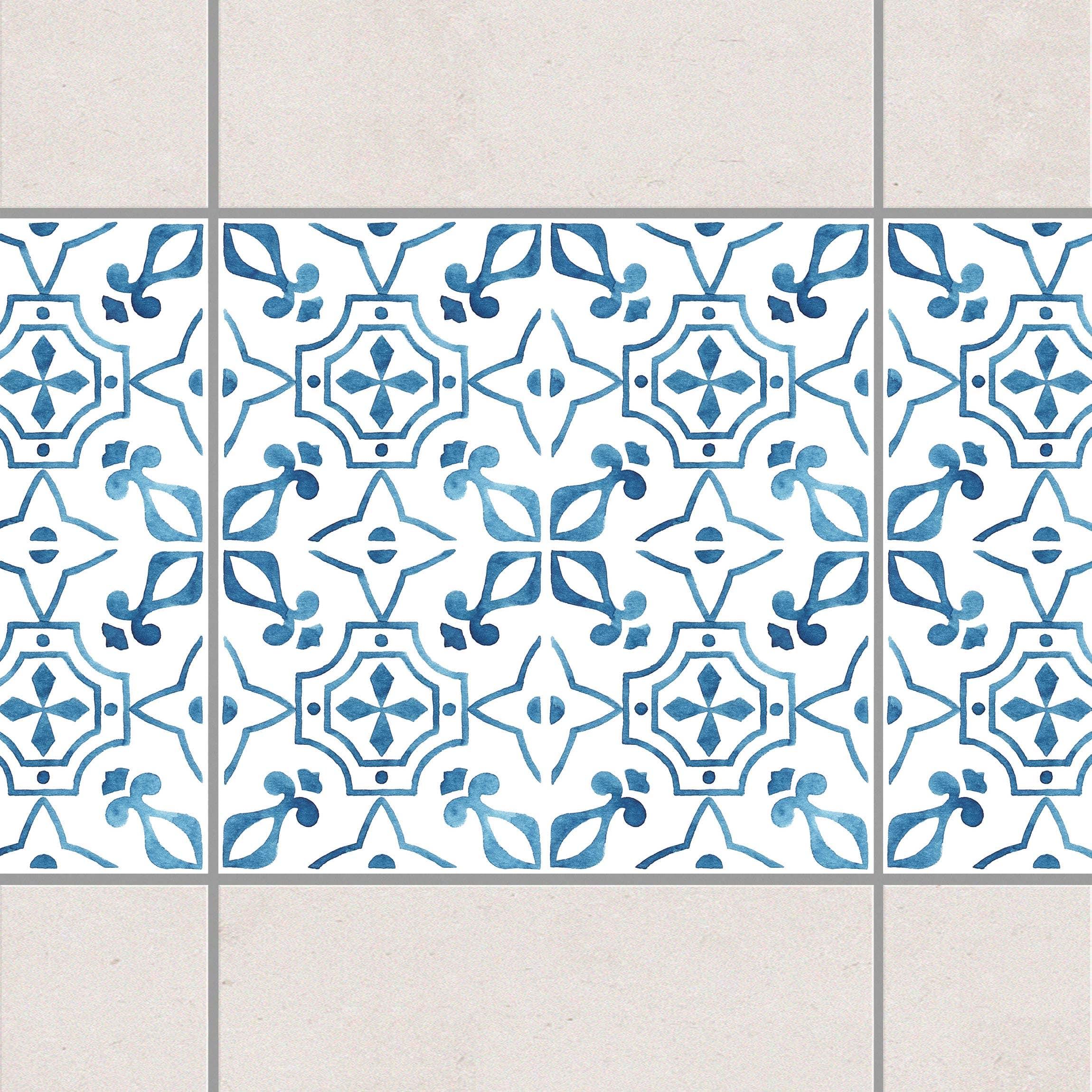 fliesen bord re blau wei muster serie no 9 1 1 quadrat 15cm x 15cm fliesenaufkleber. Black Bedroom Furniture Sets. Home Design Ideas