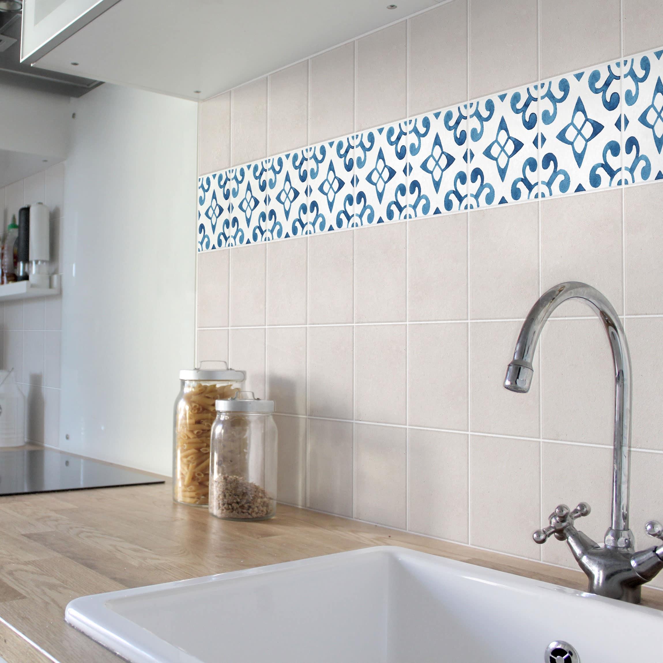 fliesen bord re muster blau wei serie no 5 1 1 quadrat 15cm x 15cm fliesenaufkleber. Black Bedroom Furniture Sets. Home Design Ideas