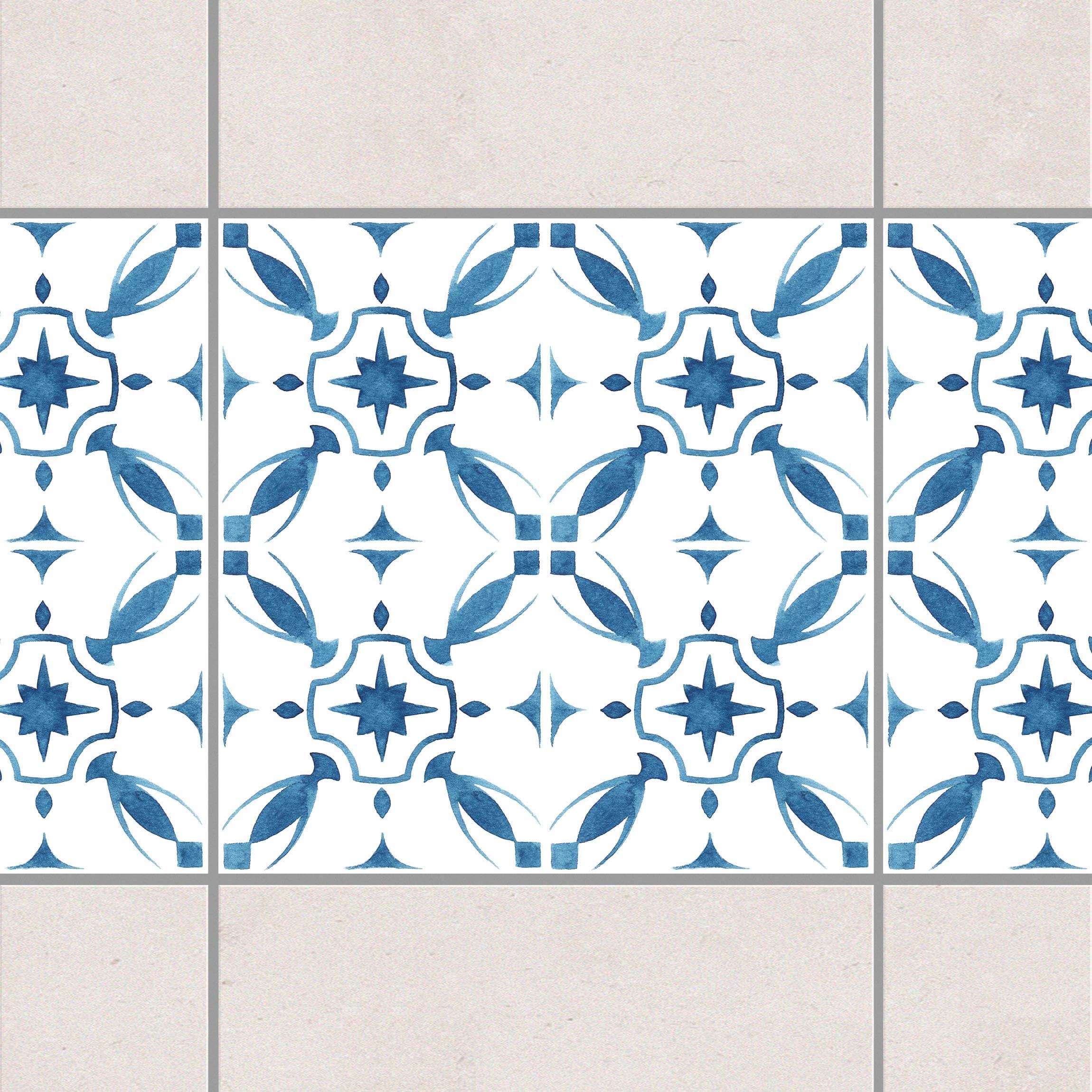 fliesen bord re blau wei muster serie no 1 1 1 quadrat 20cm x 20cm fliesenaufkleber. Black Bedroom Furniture Sets. Home Design Ideas