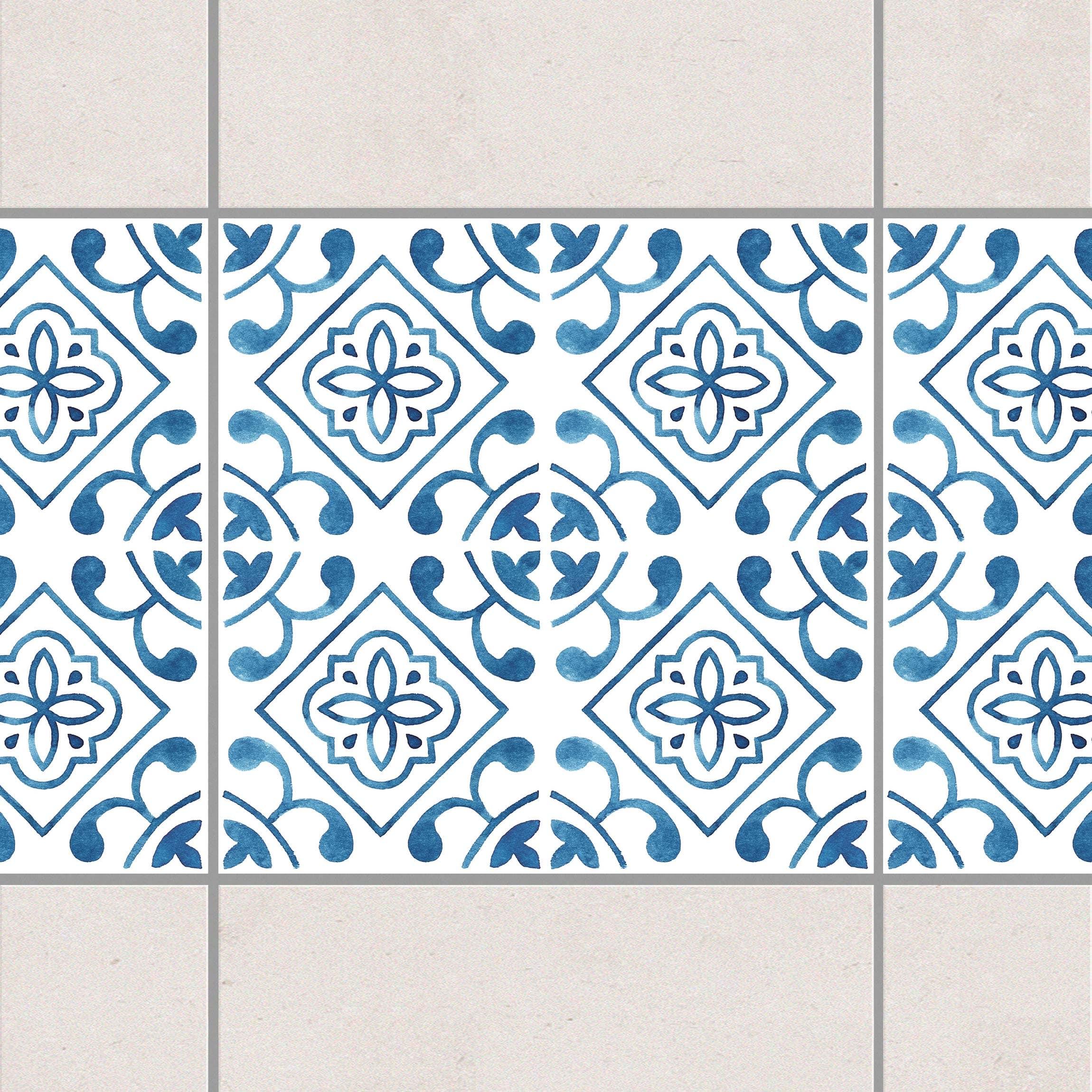 fliesen bord re blau wei muster serie no 2 1 1 quadrat 20cm x 20cm fliesenaufkleber. Black Bedroom Furniture Sets. Home Design Ideas