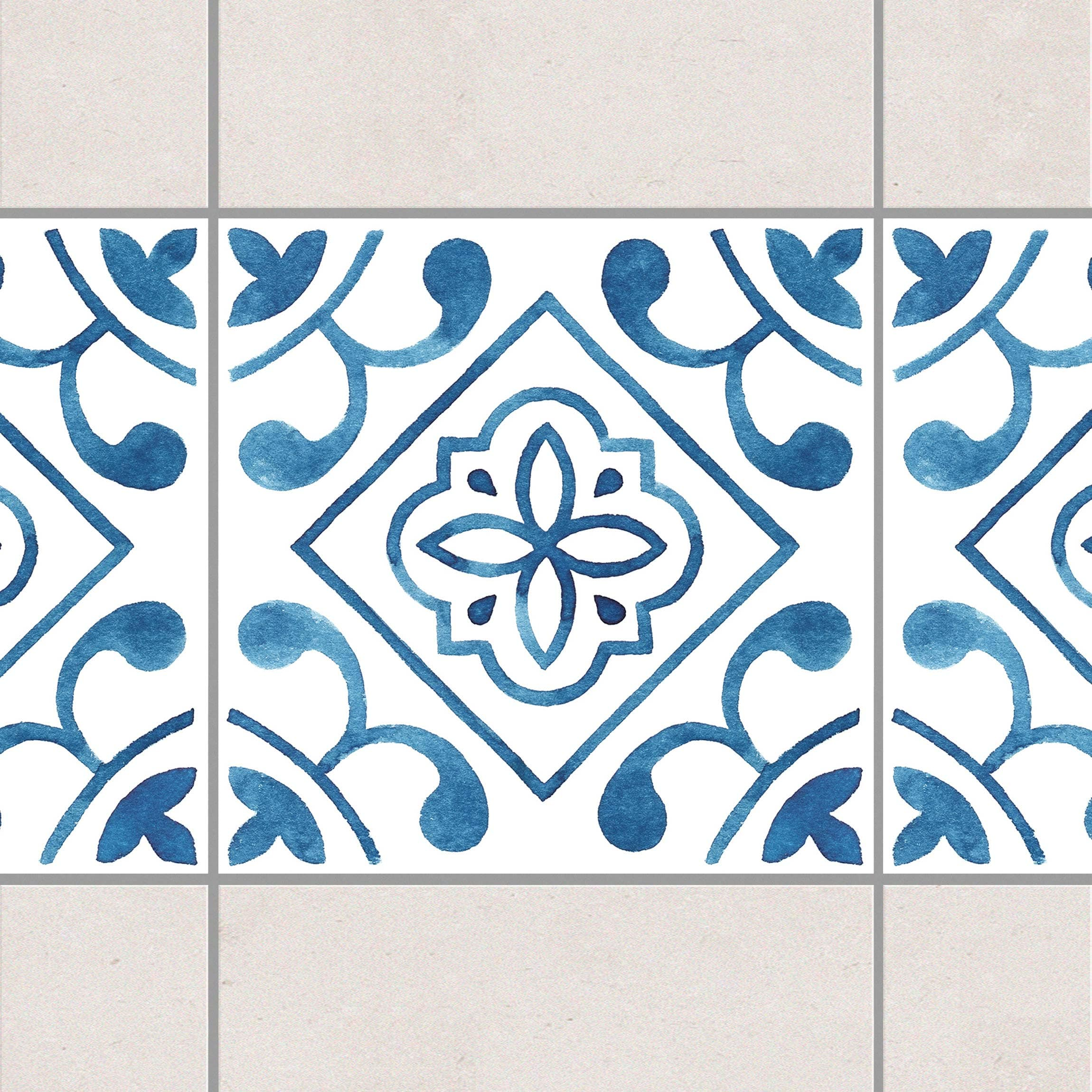 fliesen bord re muster blau wei serie no 2 1 1 quadrat 20cm x 20cm fliesenaufkleber. Black Bedroom Furniture Sets. Home Design Ideas