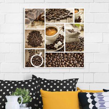 Produktfoto Glasbild - Kaffee Collage - Quadrat 1:1