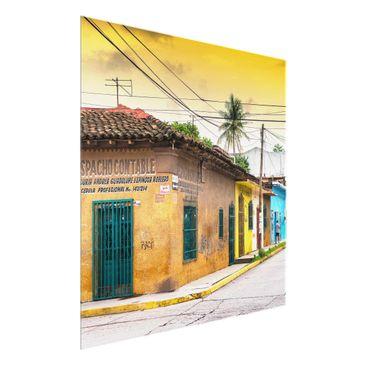 Produktfoto Glasbild - Bunte Straße Sonnenuntergang - Quadrat 1:1