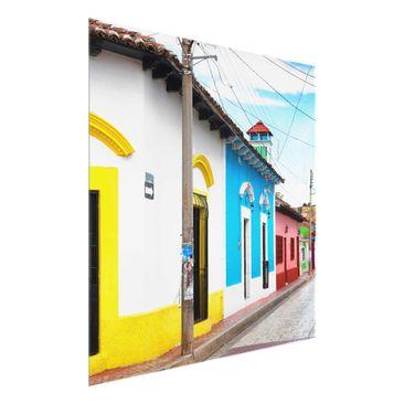 Produktfoto Glasbild - Farbige Straße - Quadrat 1:1