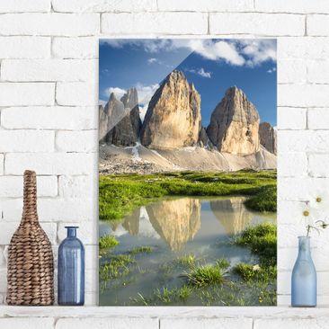 Produktfoto Glasbild - Südtiroler Zinnen und Wasserspiegelung - Hoch 3:2