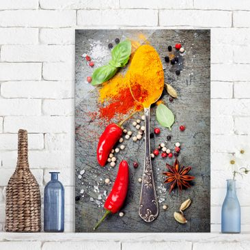 Product picture Print on Glass - Spoons with spices -...