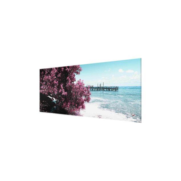 Produktfoto Glasbild - Paradies Strand Isla Mujeres - Panorama Quer