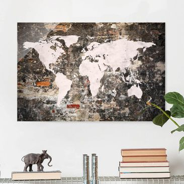 Product picture Print on Glass - Old wall world map -...
