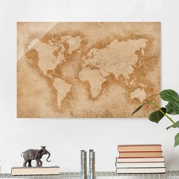 Product picture Print on Glass - Antique World Map -...