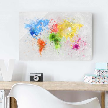 Immagine del prodotto Quadro in vetro - Colorful splashes world map - Orizzontale 2:3