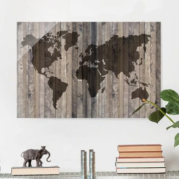 Product picture Print on Glass - Wood World Map - Glass...