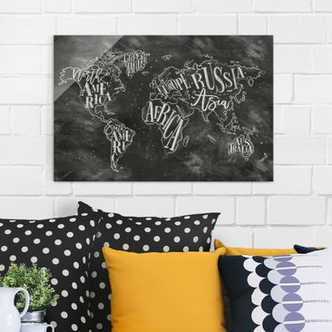 Product picture Print on Glass - Chalk world map - Glass...