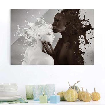Produktfoto Glasbild - Milch & Kaffee Kuss - Quer...