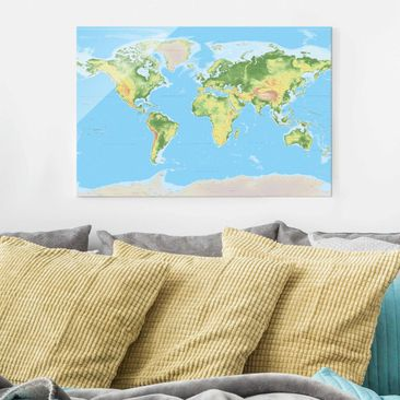 Product picture Print on Glass - Physical World Map -...