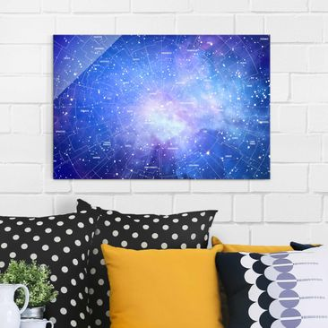 Product picture Print on Glass - Constellation sky map -...