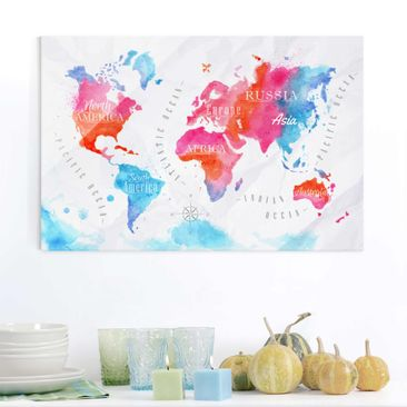 Immagine del prodotto Quadro in vetro - World Map watercolor red blue - Orizzontale 2:3