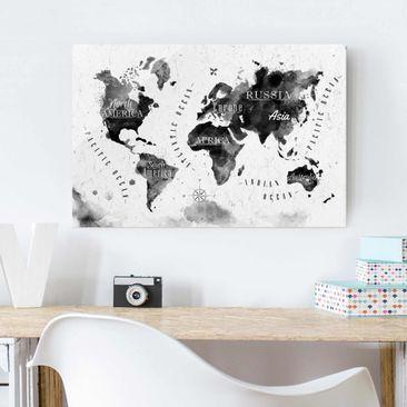 Produktfoto Glasbild - Weltkarte Aquarell schwarz - Quer 2:3