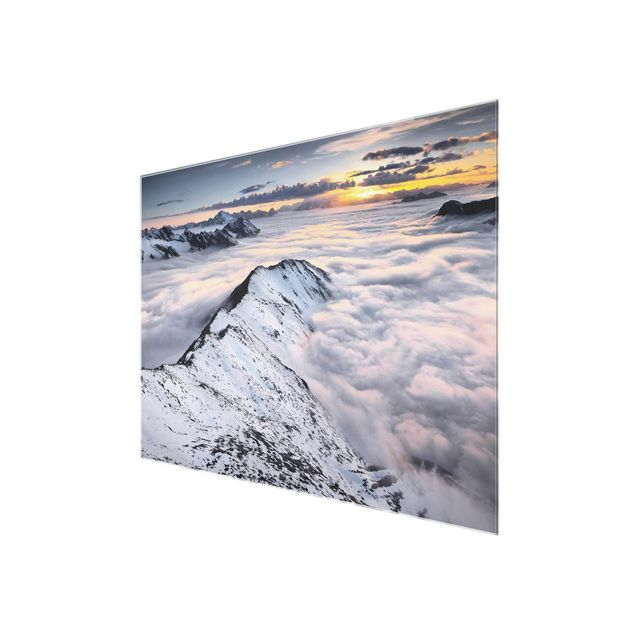 Produktfoto Glasbild - Blick über Wolken und Berge - Quer 3:4