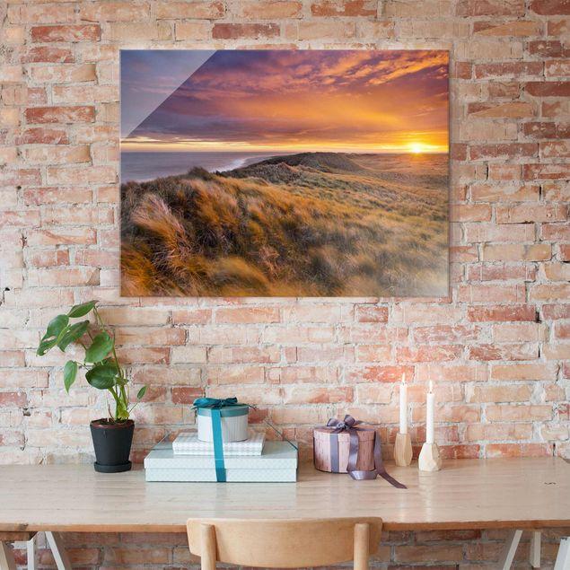 Produktfoto Glasbild - Sonnenaufgang am Strand auf Sylt - Quer 3:4