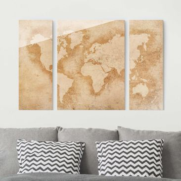 Immagine del prodotto Quadro in vetro - Antique World Map - 3 parti