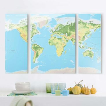 Immagine del prodotto Quadro in vetro - Physical World Map - 3 parti