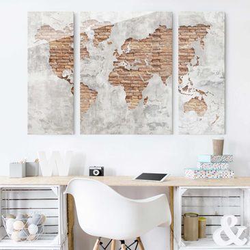 Produktfoto Glasbild mehrteilig - Shabby Beton Backstein Weltkarte 3-teilig