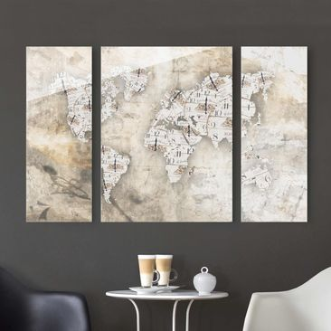 Immagine del prodotto Quadro in vetro - Shabby watches world map - 3 parti