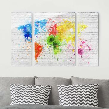 Immagine del prodotto Quadro in vetro - White brick wall world map - 3 parti
