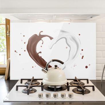 Produktfoto Spritzschutz Glas - Schokoladen Milch Herz - Quer 2:3