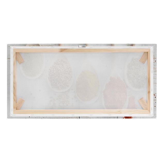 Immagine del prodotto Stampa su tela - Wooden spoons with spices - Orizzontale 1:2