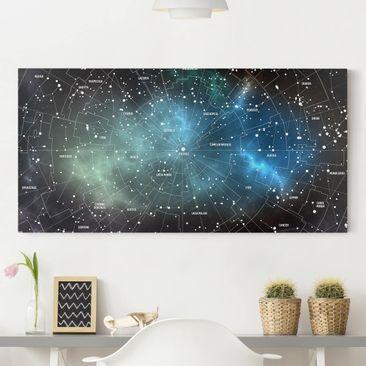 Immagine del prodotto Stampa su tela - Constellations map Galaxy fog - Orizzontale 1:2
