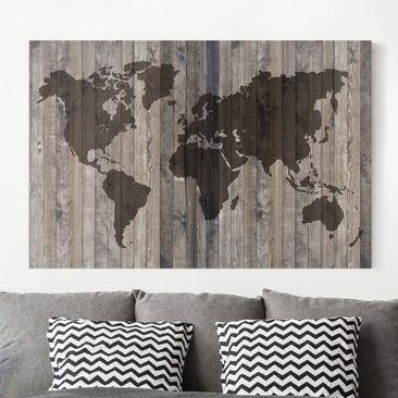 Produktfoto Leinwandbild - Holz Weltkarte - Quer 2:3