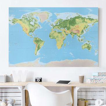 Immagine del prodotto Stampa su tela - Physical World Map - Orizzontale 2:3