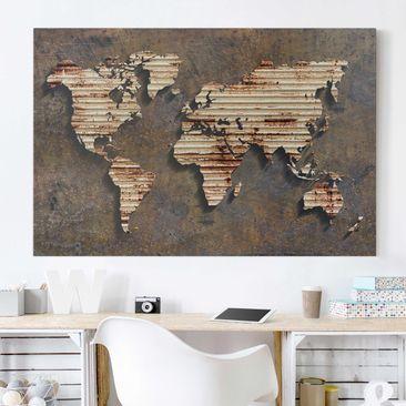 Immagine del prodotto Stampa su tela - Stainless World Map - Orizzontale 2:3