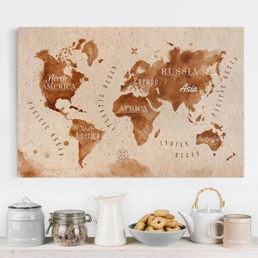 Immagine del prodotto Stampa su tela - World Map watercolor beige brown - Orizzontale 2:3