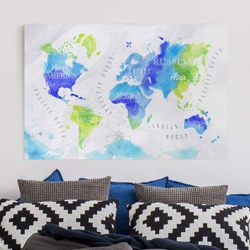 Produktfoto Leinwandbild - Weltkarte Aquarell blau...