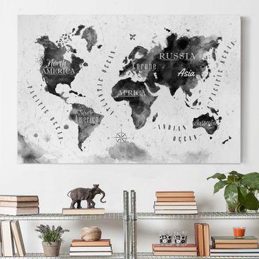 Produktfoto Leinwandbild - Weltkarte Aquarell...