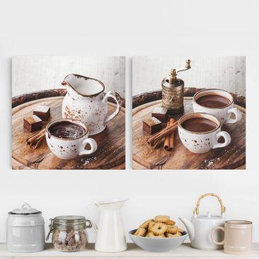 Produktfoto Leinwandbild 2-teilig - Heiße Schokolade - Quadrate 1:1, vergrößerte Ansicht in Wohnambiente, Artikelnummer 221406-XWA