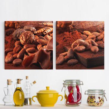 Produktfoto Leinwandbild 2-teilig - Schokoladenberge - Quadrate 1:1, vergrößerte Ansicht in Wohnambiente, Artikelnummer 221408-XWA