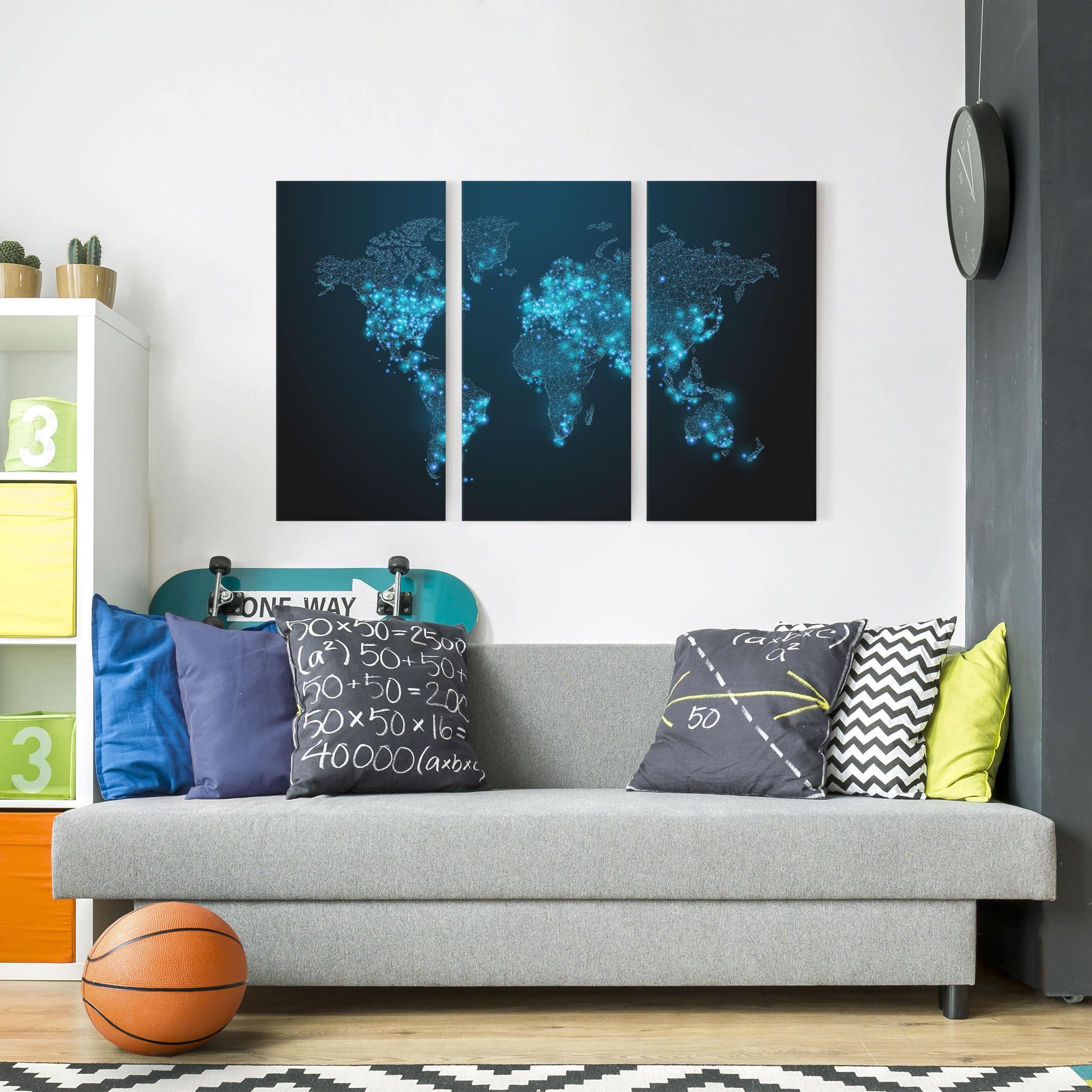 leinwandbild 3 teilig connected world weltkarte hoch 2 1. Black Bedroom Furniture Sets. Home Design Ideas