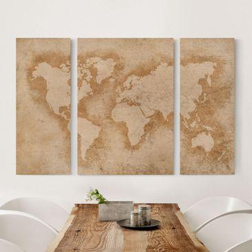 Produktfoto Leinwandbild 3-teilig - Antike Weltkarte...