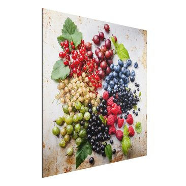 Immagine del prodotto Stampa su alluminio - Mixture Of Berries On Metal - Quadrato 1:1