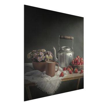 Produktfoto Aluminium Print - Stillleben mit Erdbeeren - Quadrat 1:1